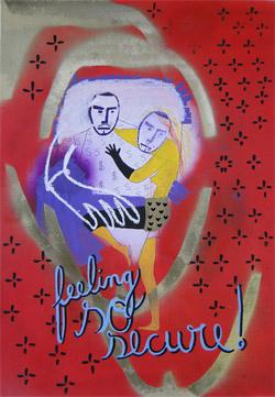 """Carlos Contente, """"Feeling so secure"""", técnica mista sobre papel © 2011"""