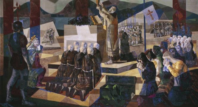 Cândido Portinari. A Primeira Missa no Brasil, 1948. Têmpera sobre tela, 266 x 598 cm