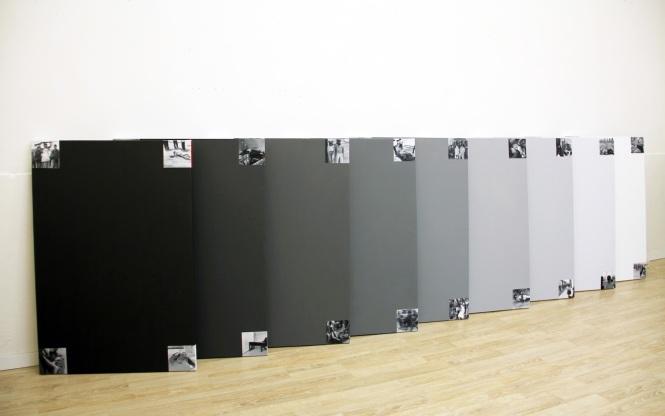 """Sandra Gamarra, """"Lo que nos hizo modernos"""", 2014. Óleo sobre tela, (10 peças de 120 x 80 cm)"""