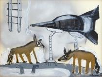 Pita´goras Lopes - Acri´lica e spray sobre papel - Ano 2012 - 50 x 72cm, NF 125