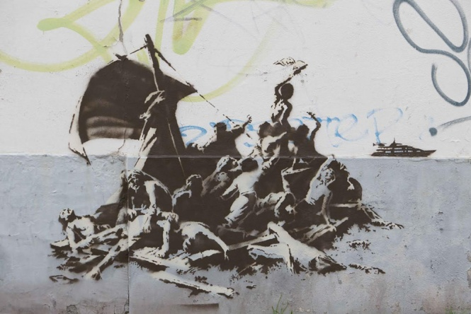 "Versão de Banksy para ""The Raft of the Medusa"", de Théodore Géricault. Foto via banksy.co.uk"