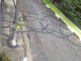 Intervenção urbana no asfalto de Tec Fase, criada especialmente para a exposição Labcidade